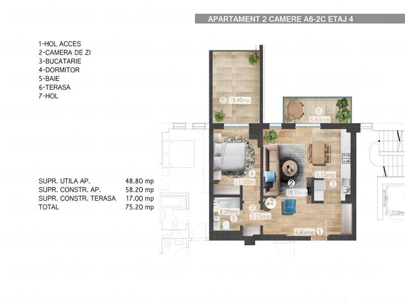 Barbu Vacarescu Belvedere apartament 2 camere 2018 terasa 16 mp