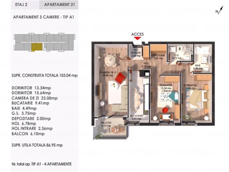 Bulevardul Pipera Porsche Nord apartament 3 camere 87 mp imobil 2020