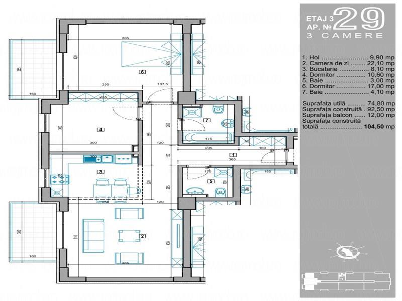 Baneasa Sisesti Rezidenz apartament 3 camere bucatarie utilata premium