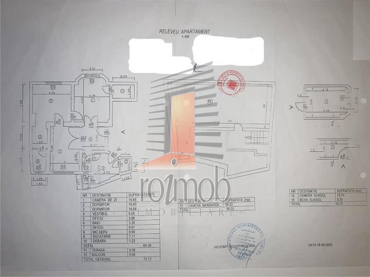 Apartament 3 camere et.1/2 +1 camera de 58 mp la Mansarda,Cismigiu