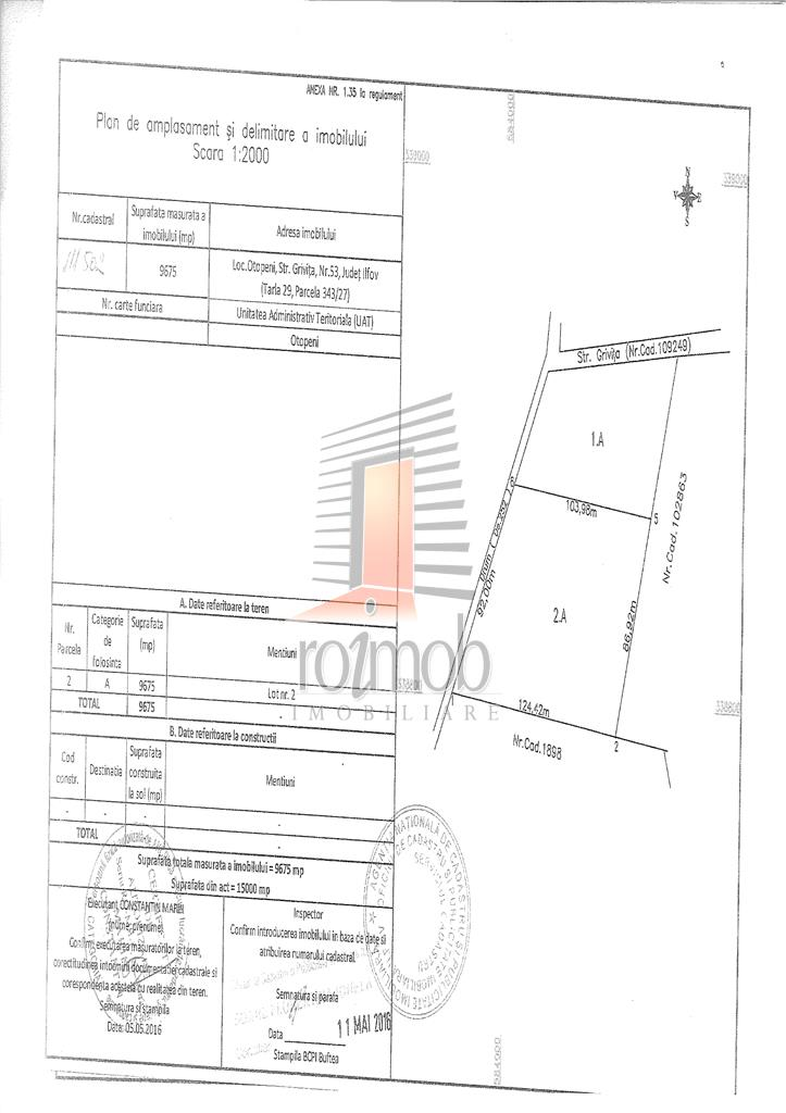 Otopeni Odai teren 9675 mp destinatie rezidential