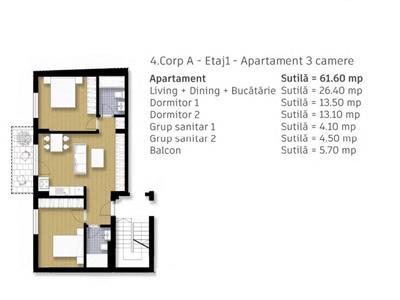 Apartament 3 camere, 67 mp, in imobil nou, tip vila, comision 0%