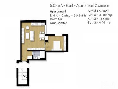 Doamna Ghica, apartament 2 camere in bloc nou tip vila, comision 0%