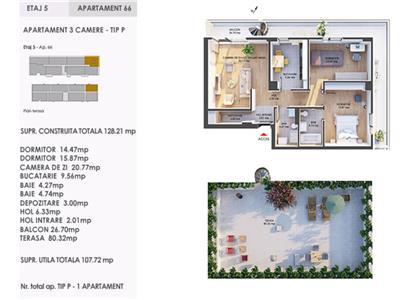 Comision 0% Pipera 1 Residence finalizat 3 camere 108 mp si terasa de 80 mp